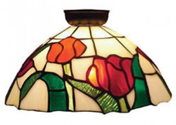 Flush Mount with Red Roses and Leaf Design Domus Lighting