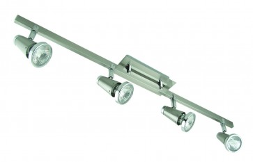 Four Light Bar Ceiling Spotlight in Satin Chrome Domus Lighting