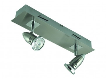 Fratelle Two Light Wall Spotlight in Brushed Chrome Domus Lighting