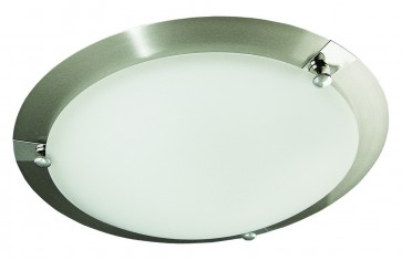 Karradime One Light Flush Mount in Satin Chrome Domus Lighting