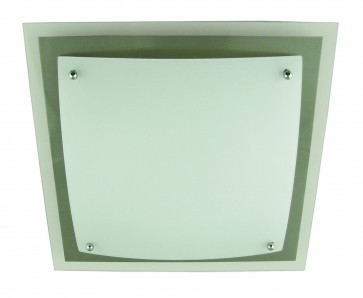 Large One Light Flush Mount with Satin Chrome Surround Domus Lighting