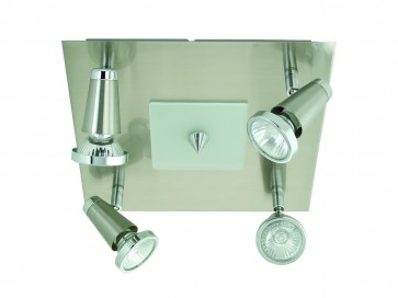 Lupose Four Light Square Wall Spotlight in Brushed Chrome Domus Lighting