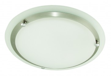 One Light Flush Mount in Satin Chrome Domus Lighting