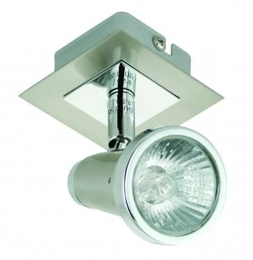 One Light Square Ceiling Spotlight in Satin Chrome Domus Lighting