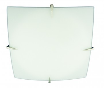 Small One Light Flush Mount in Satin Chrome with Frosted Glass Domus Lighting