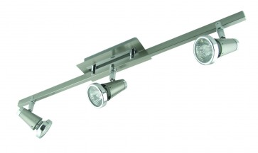 Three Light Bar Ceiling Spotlight in Satin Chrome Domus Lighting