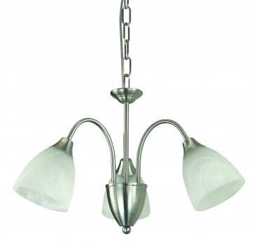 Vergome Three Light Chandelier in Brushed Chrome Domus Lighting