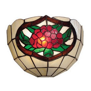 Wall Sconce with Red and Green Floral and Leaves Design Domus Lighting