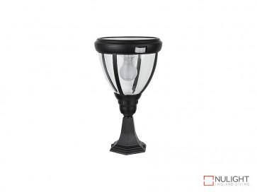 6.2W Bright White Solar Pillar Light In Black With Motion Sensor VBSLDPIL0007A6-2WPIR VBL