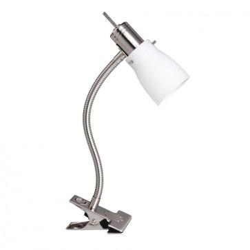 Macedon One Light Clamp Lamp in Brushed Chrome Mercator Lighting