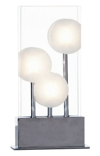 Mia Three Light Table Lamp in Chrome Metal Mercator Lighting
