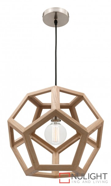 Peeta 1 Light Natural Timber Pendant MEC