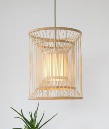 Naruto Organic Timber Square Pendant Light in Natural Colour Citilux