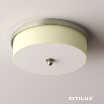 Brooklyn Cylinder fabric shade ceiling light with satin nickel decorative ring Citilux
