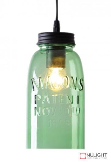 Mason Jar Pendant Green Glass ORI