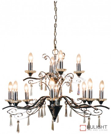 Diaz 12Lt Chrome And Crystal Pendant ORI
