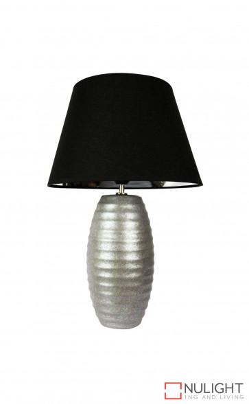 Strato Antique Silver Table Lamp Black Shade ORI