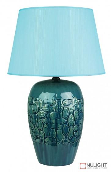 Yu Fish Ceramic Table Lamp With Blue Shade ORI