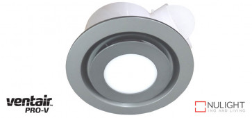 AIRBUS 250 - 250mm Quality Side Ducted Exhaust Fan With 14w LED Panel (891Lm) - Extra Low Profile - Round - Silver VTA
