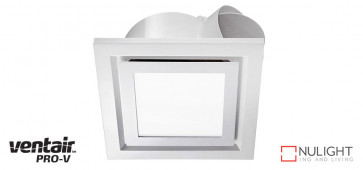 AIRBUS 250 - 250mm Quality Side Ducted Exhaust Fan With 14w LED Panel (891Lm) - Extra Low Profile - Square - White VTA