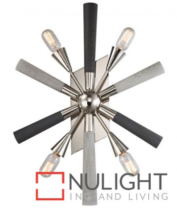 SPUTNIK WALL INTERNAL 4 * ES POLISHED NICKEL / DARK-LIGHT GRAY WASHED WOOD CLA