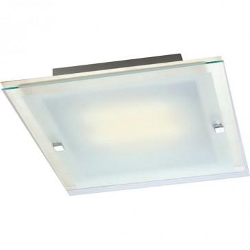 Panel 28cm Flush Mount Ceiling Light in Satin Chrome Sunny Lighting