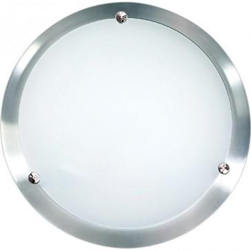 Solo 30cm Flush Mount Ceiling Light in Satin Chrome Sunny Lighting