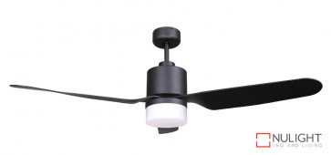 ASHTON - 52 inch 1300mm ABS 3 Blade Ceiling Fan in Matte Black with 15-18w LED Light (1500Lm, 3000K Warm White) VTA