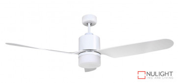 ASHTON - 52 inch 1300mm ABS 3 Blade Ceiling Fan in White with 15-18w LED Light (1500Lm, 3000K Warm White) VTA