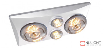 EKO DUO - 2 Light 3 in 1 Bathroom Heat Exhaust - side duct -  2 centre 6 watt LED energy saver globes - White VTA