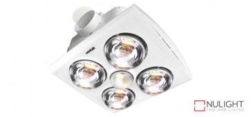 KLEIN 4 - Budget 4 Light 3 in 1 Bathroom Heat Exhaust - side duct - R80 100watt Incandescent Globe - White VTA