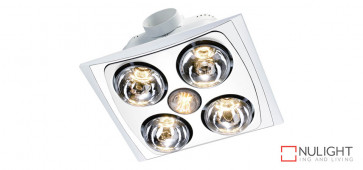 FRANKLIN - 4 Light 3 in 1 Bathroom Heat Exhaust - side ducted - 6w LED R80 energy saver  globe - White VTA