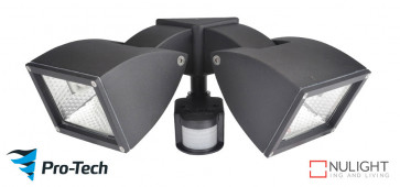 WEDGE - 2 Light Floodlight in Satin Chrome - Motion Sensor VTA