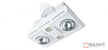GARRISON 2 - 2 Light 3 in 1 Bathroom Heat Exhaust 2 x 375w With 2 x LED Centre Lights (4000K NW) - White VTA