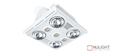 GARRISON 4 - 4 Light 3 in 1 Bathroom Heat Exhaust 4 x 375w With 3 x LED Centre Lights (4000K NW)- White VTA