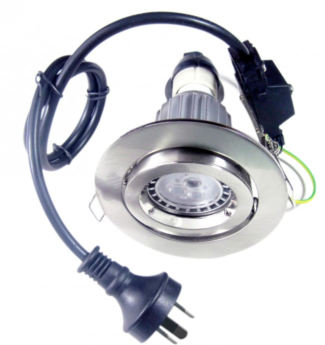Lighting Australia Round Gimbal LED Downlight Kit In Satin Chrome Cool Wh