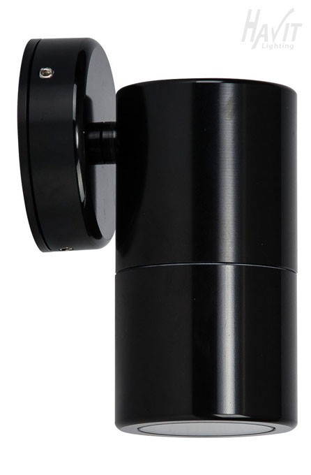 Black Gloss Wall Lights : Lighting Australia Single Fixed Wall Pillar Light in Gloss Black Havit - NULighting.com.au