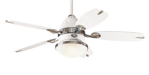 Lighting australia the retro ceiling five blade ceiling fan in the retro ceiling five blade ceiling fan in white with chrome accents hunter fans mozeypictures Gallery