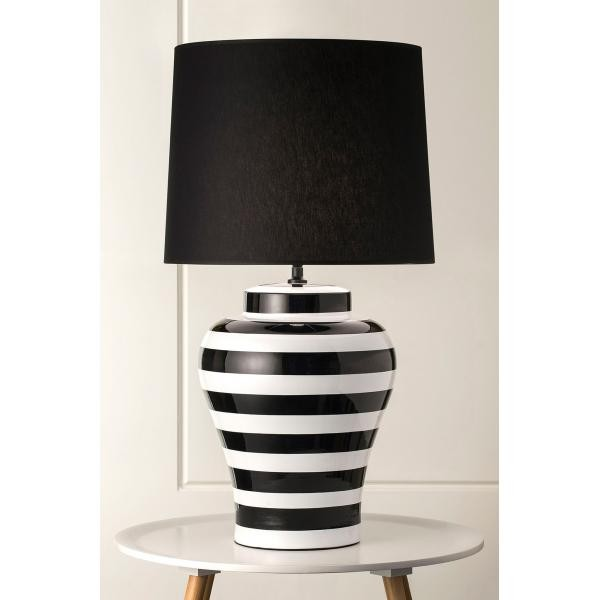 Captivating 928 Pepper Black And White Stripe Lamp