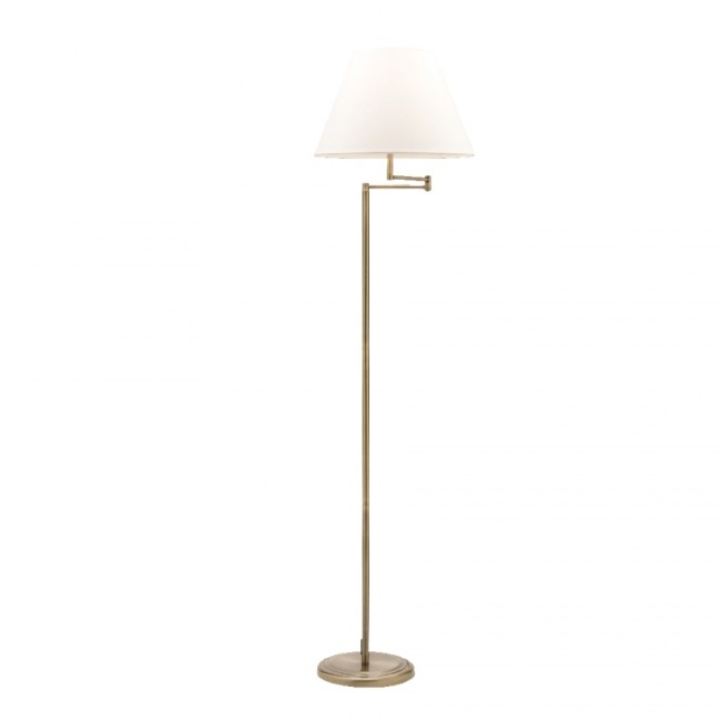 melville one light swing arm floor lamp in antique brass mercator lighting. Black Bedroom Furniture Sets. Home Design Ideas