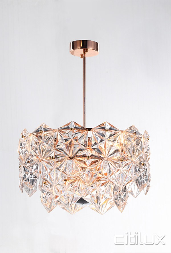 Fluorescent Light Covers >> Lighting Australia | Mirka 6 Lights Pendant Rose Gold Citilux - NULighting.com.au