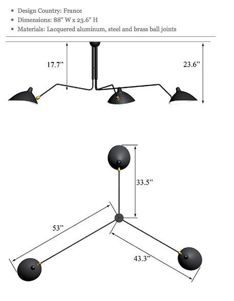 Lighting Australia | Replica Serge Mouille Three-Arm ...