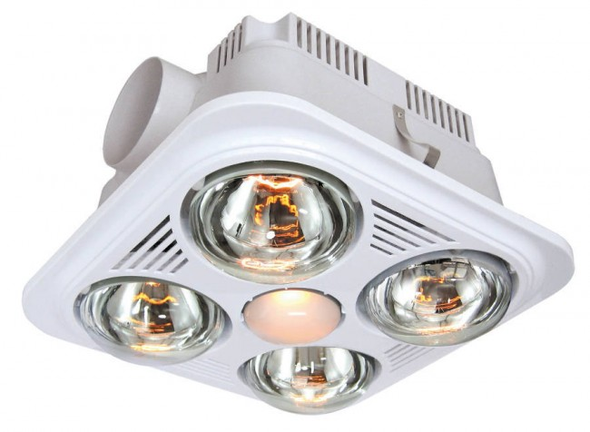 Buddy 4 Energy Saving Bathroom Heat Lamp And Exhaust Fan In White VentAir