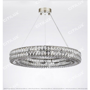 Transparent Square Crystal Ring Chandelier Citilux