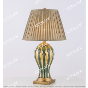 New Chinese Olive Green Gold-Plated Ceramic Table Lamp Citilux