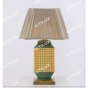 New Chinese Olive Green Gold-Plated Ceramic Table Lamp Long Section Citilux
