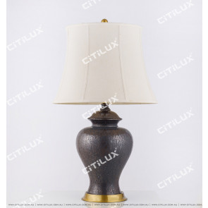 Chinese Copper Chrome Old Ceramic Table Lamp Citilux