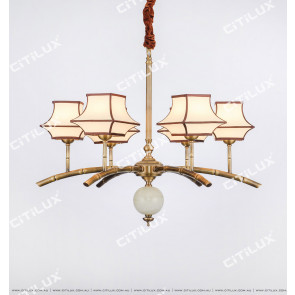 Chinese-Style Copper-Bamboo Zen Single-Tier Small Chandelier Citilux