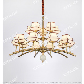 Chinese Style Copper Bamboo Zen Zen Double Chandelier Citilux