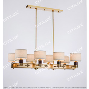 Chinese Style Copper Long Fabric Chandelier Citilux